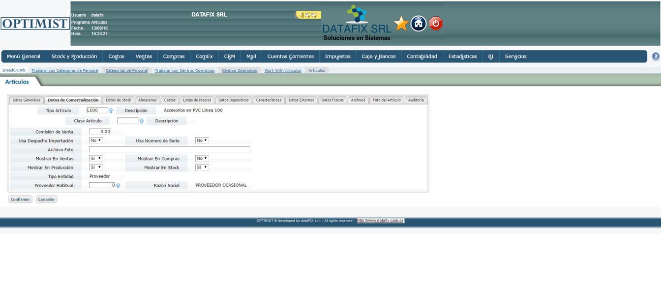 Stock - Articulos - Datos Comercializacion